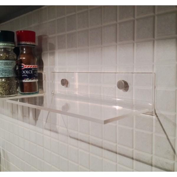 Mensola moderna bagno e cucina in plexiglass design 45x10 - Mensole bagno plexiglass ...