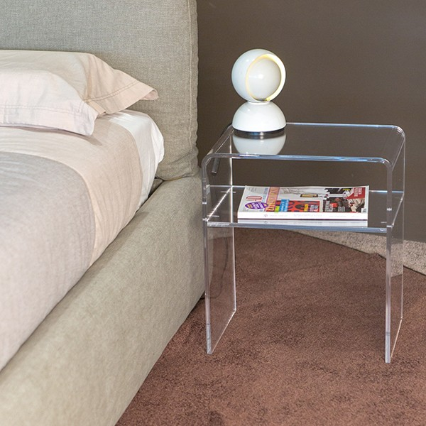 modern bedside tables acrylic clear perspex night stand 40x30 h 45 cm no kartell ebay. Black Bedroom Furniture Sets. Home Design Ideas
