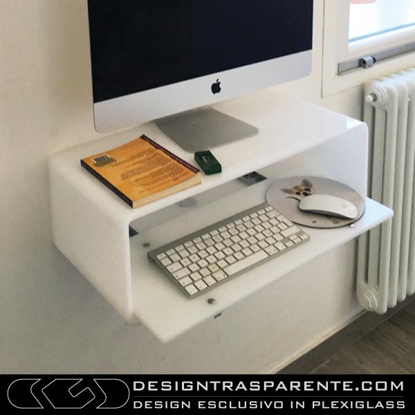 Consolle porta pc per imac 21 da parete in plexiglass - Porta computer bianco ...