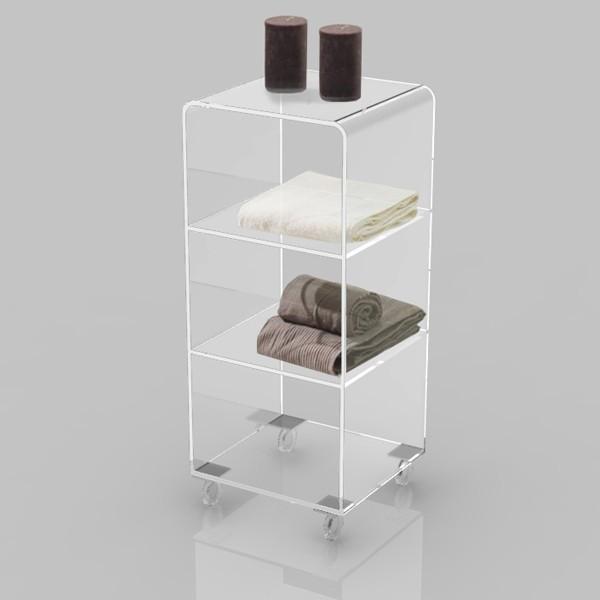 Mobiletto bagno trasparente in plexiglass con ruote 40x40 h 90 cm ebay - Misure standard bagno ...