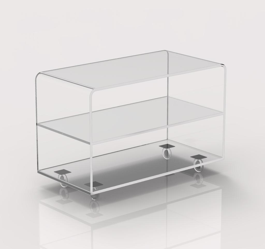 Carrello porta tv trasparente in plexiglass con ruote 70x35 h45cm design moderno ebay - Carrello porta tv meliconi ...