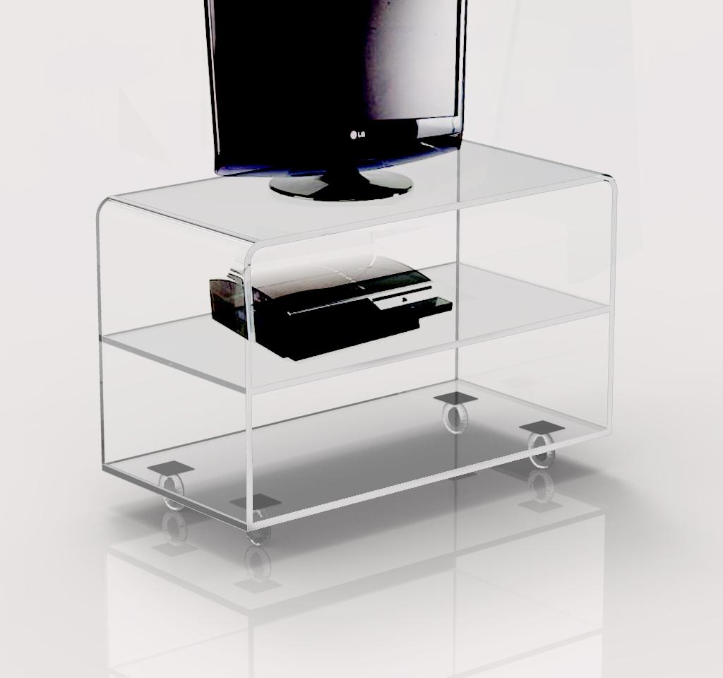 Carrello porta tv moderno in plexiglass trasparente con ruote ...