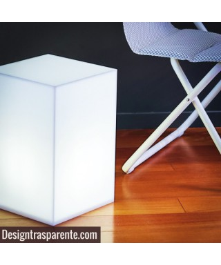 Comodino cubo luminoso cm 30x30h45 in plexiglass bianco diffusore
