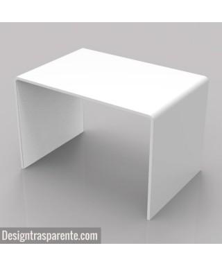 Tavolino a ponte 60x40h40 in plexiglass bianco