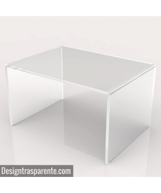 Tavolino a ponte 80x50h40 da salotto in plexiglass trasparente