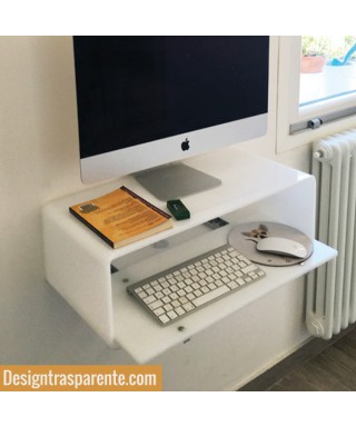 Wall-mount white acrylic suspended desk for iMac 21""