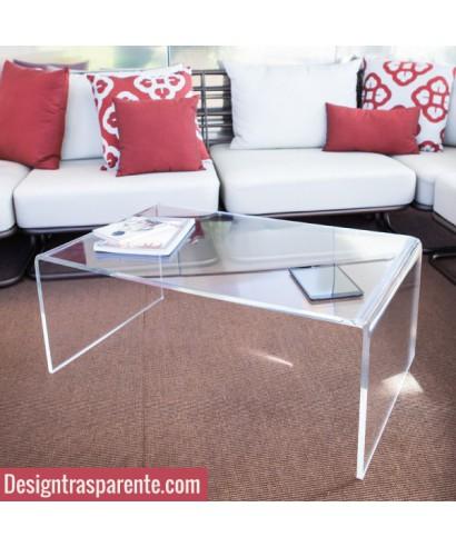 Tavolino a ponte 90x40h40 da salotto in plexiglass trasparente