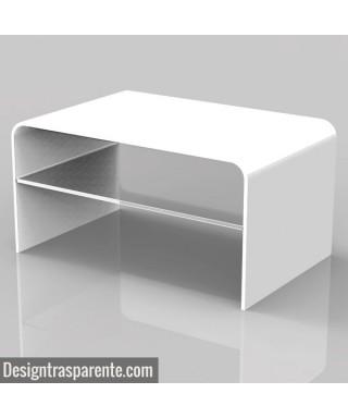 Tavolino bianco ripiano 75x50 h:40