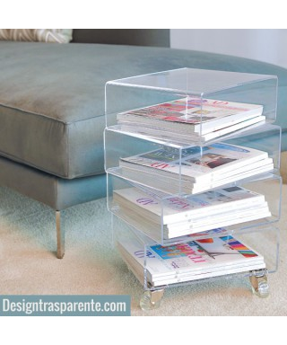 Acrylic side table with magazine rack - Trottola