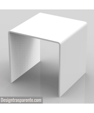 Tavolino a ponte 40x40 h:40 in plexiglass bianco