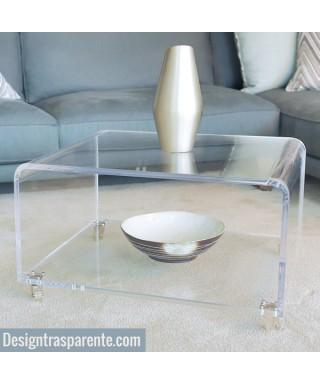 Tavolo SU MISURA 70x70 h:35 in plexiglass trasparente con ruote