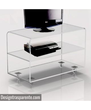 Richiedi un carrello porta TV su misura in plexiglass trasparente