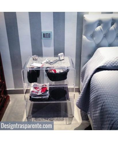 Tavolo 40x40h70 con due ripiani in plexiglass trasparente per soggiorno
