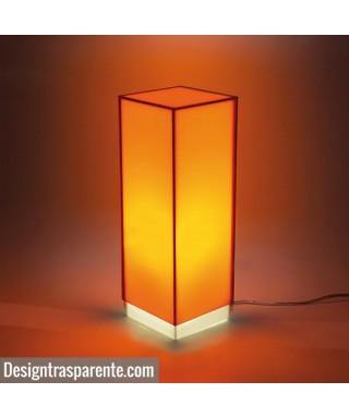 Condom arancione lampada da tavolo e comodino in plexiglass colorato