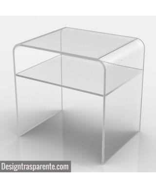 Tavolino con ripiano 60x50h40 per divani in plexiglass trasparente
