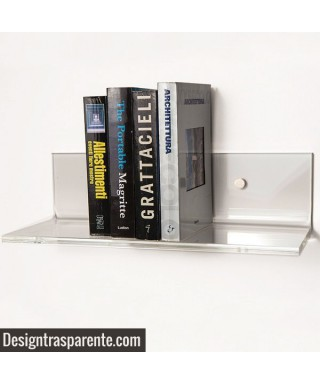 3 Mensole SU MISURA in plexiglass trasparente alto spessore per libri