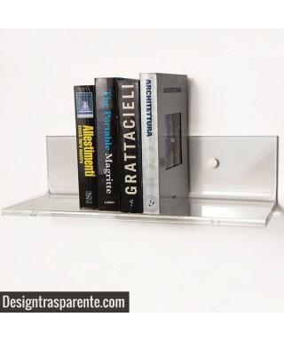 Mensole SU MISURA in plexiglass trasparente alto spessore per libri