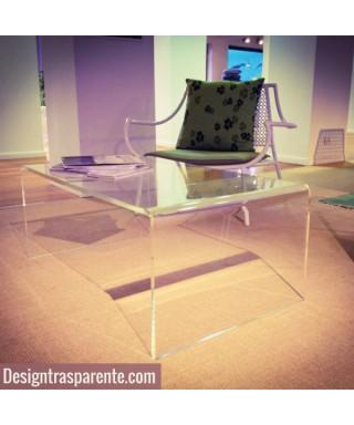 Tavolino a ponte 80x60h40 da salotto in plexiglass trasparente