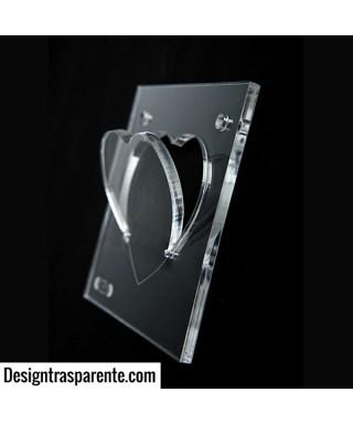 Appendicuore - appendiabiti da muro in plexiglas trasparente a forma di cuore