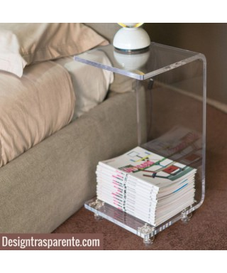 Clear acrylic bedside table 29x29 h:60