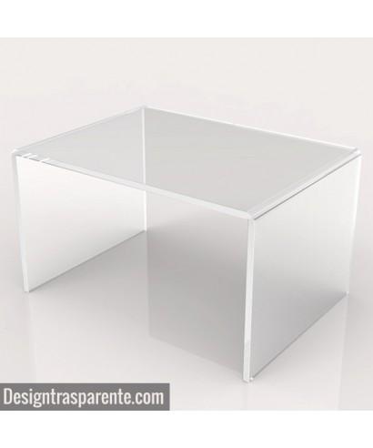 Tavolino a ponte 100x60h30 da salotto in plexiglass trasparente