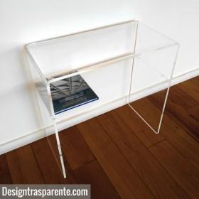 Tavolino con ripiano 60x60h70 per divani in plexiglass trasparente