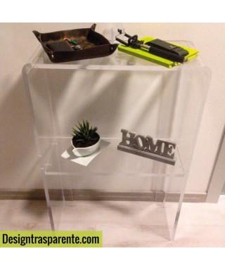 Tavolino con ripiano 90x30h60 per divani in plexiglass trasparente