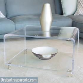 Tavolino portariviste cm 70x40h45 in plexiglass trasparente,  con ruote