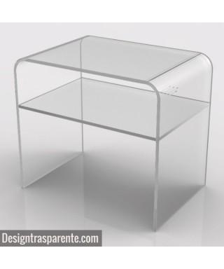 OFFERTA Tavolino cm 50x50 h:50 con ripiano in plexiglass trasparente - SCONTO SPECIALE