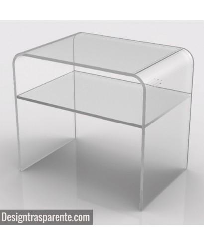 Tavolino con ripiano 60x60h40 per divani in plexiglass trasparente