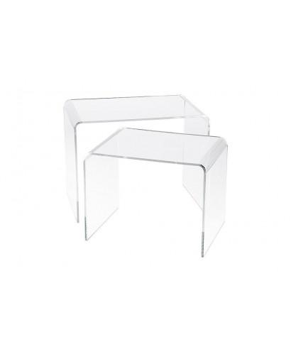 Set tavoli 60x50h40 e 55x50h37 impilabili in plexiglass trasparente