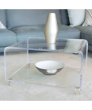 Tavolino 90x40h40 con ripiano in plexiglass trasparente alto spessore