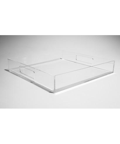 Set di vassoi quadrati in plexiglass nero e trasparente
