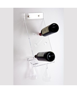 Acrylic wall-mount bottle rack and glass holder transparent lucite