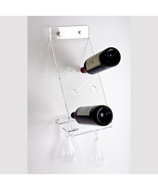 Botellero y portavasos de pared en metacrilato transparente