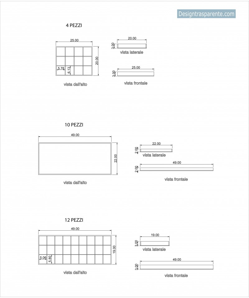 Contenitori in plexiglass trasparente su misura