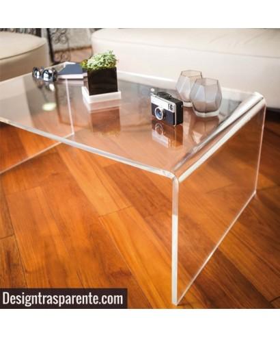 Tavolino a ponte 80x80h40 da salotto in plexiglass trasparente