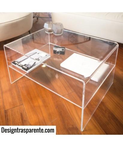 Tavolino con ripiano 70x70h40 per salotto in plexiglass trasparente