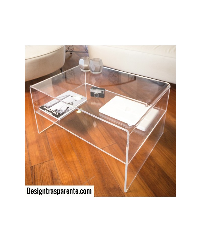 Tavolino con ripiano 70x70h40 per divani in plexiglass trasparente
