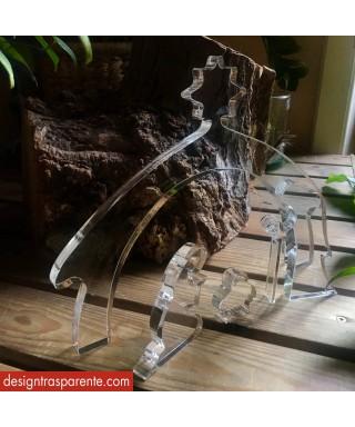 Presepe moderno e stilizzato con blocchetti di plexiglass trasparente