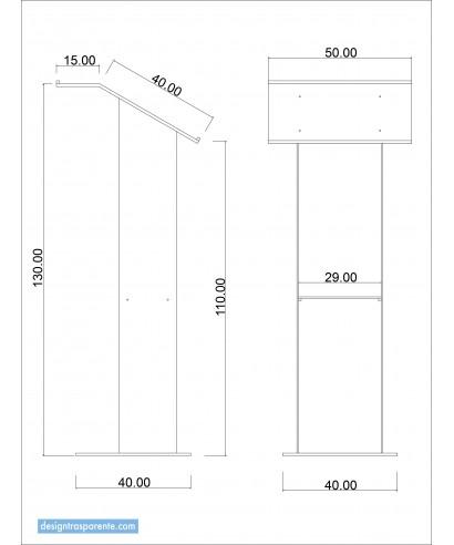 Leggio 50x40h110/130 da terra in plexiglass trasparente - su misura