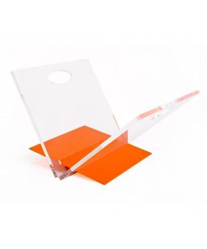 Oplà portariviste in plexiglass trasparente con base colorata