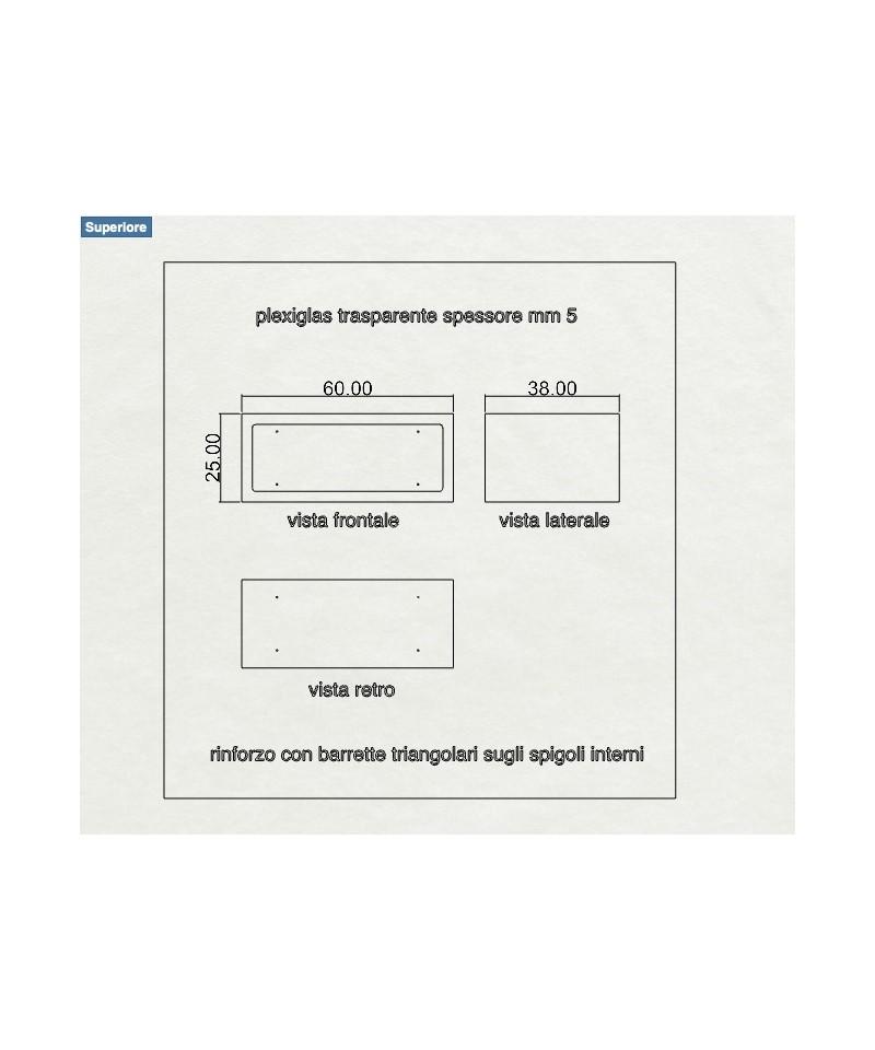 Mensola Cubo 60x38h25 in plexiglass trasparente espositore con cornice