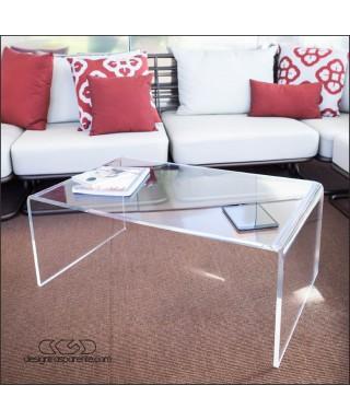Tavolino a ponte 75x50h30 da salotto in plexiglass trasparente