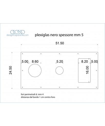 Plancia in plexiglass nero lucido taglio laser - per imbarcazione