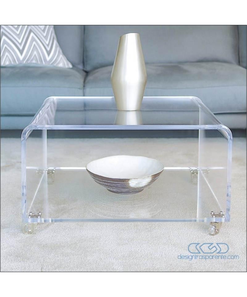 Tavolino portariviste cm 75x50h30 in plexiglass trasparente,  con ruote