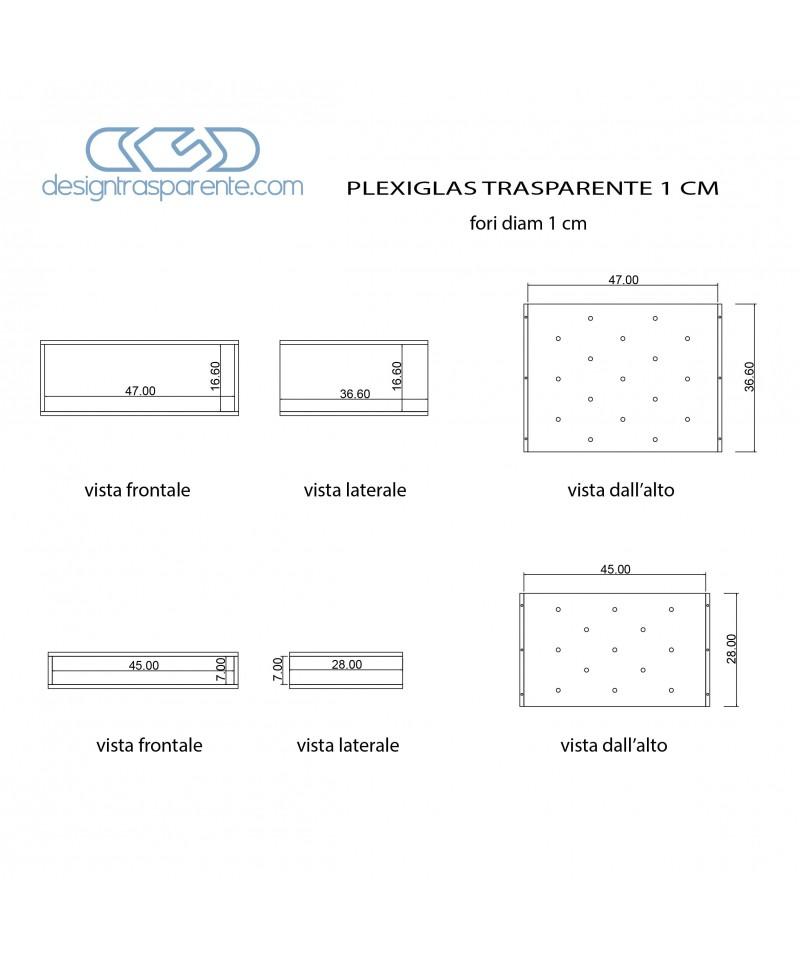 Supporti in plexiglass trasparente per componenti elettronici