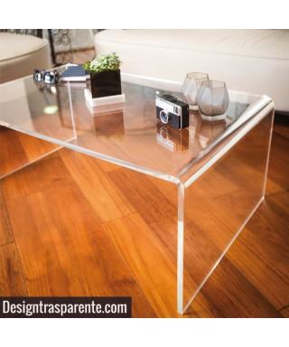 Tavolino a ponte 100x100h55 da salotto in plexiglass trasparente