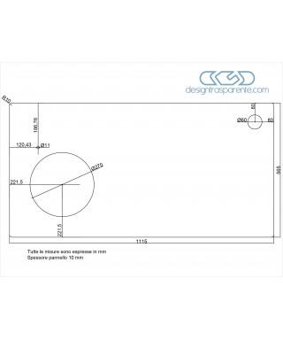 Lastra in plexiglass trasparente taglio laser e fori come da disegno