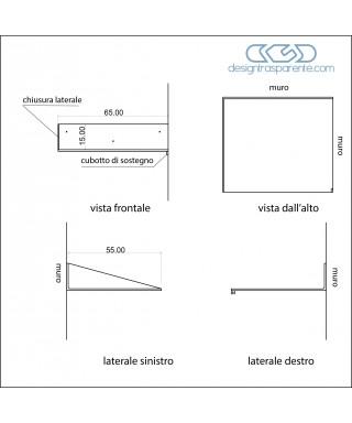 Mensola SU MISURA 65x55 in plexiglass trasparente